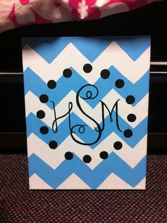 Handpainted Chevron Monogram Canvas by KinziesCrafts on Etsy, $20.00
