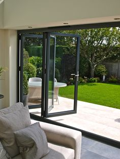 Contact us for a free and no obligation quotation via 01325 381630 or sales Bring the outside in with our Bi-Folding Doors. Aluminium Bi-Fold Doors / Aluminium Bi Folding Doors / Bi-F. Folding Patio Doors, Bifold Doors Onto Patio, French Doors Patio, House Extensions, Door Design, Windows And Doors, Home Interior Design, Interior Doors, Modern Interior