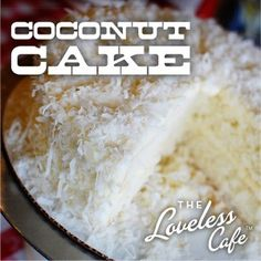 A frosty mug of ice cold milk and a slice of real Southern coconut cake. Does it get any better? No lemon, no pineapple filling.just sweet coconut cake. The recipe from the Loveless Cafe is the real deal. Get it from their web site. Just Desserts, Delicious Desserts, Yummy Food, Yummy Treats, Sweet Treats, Cake Recipes, Dessert Recipes, Cafe Food, Restaurant Recipes
