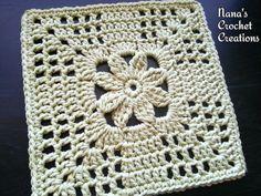 Nana's Summer Trellis Bloom Square Motif By Des Maunz - Free Crochet Pattern - (ravelry)