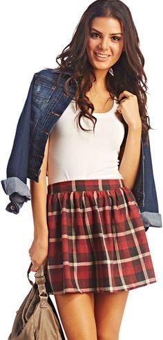 Flannel Skater Skirt plain top and denim jkt.
