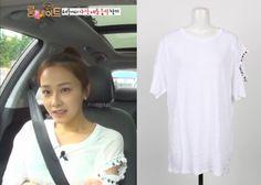 "Hong Soo-Hyun on ""Roommate"" Episode 9.  System Embellished Sleeve T-Shirt  #Roommate #룸메이트 #HongSooHyun #홍수현"