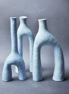 ceramic candle holder in light blue - flor. Ceramic Clay, Ceramic Pottery, Pottery Art, Slab Pottery, Thrown Pottery, Pottery Studio, Porcelain Ceramics, Porcelain Tile, Ceramic Bowls