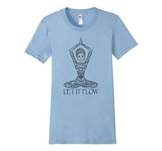 "Amazon.com: Women's ""Let It Flow"", Lola the Yogini - Yoga T-Shirt (Black): Clothing"