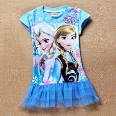 HOT 2014 Baby Girls Dress Elsa Ana Frozen Dress Princess Cartoon Print Girls Casual Nighties For 2-7 Years Party Baby & Kids $15.55