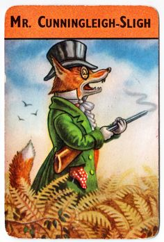 Fox (Vulpes vulpes) Woodland Snap, a Pepys Game, illustrated by Racey Helps (London: Castell Brothers 1960)