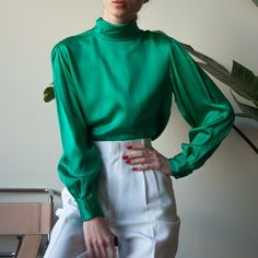 "4a8b1ee0 @persephonevint on Instagram: ""silk turtleneck puff sleeve, s"". Silk Pants  OutfitGreen Blouse ..."