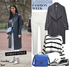 """LFW: Street Style: Caroline Issa"" by helenevlacho ❤ liked on Polyvore"