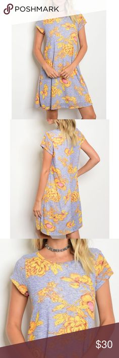 """Floral Print Shift Dress Buttercup yellow, pink and Heather grey floral print  Shift dress.                                                                                         Fabric Content: 78% POLYESTER 22% RAYON FULLY LINED Size Scale: S-M-L  Description: SMALL L: 35"""" B: 36"""" Gilli Dresses Midi"""