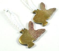 #Christmas Ornament #Handmade #Ceramic #Pottery Rustic Doves Tree Decorations on Sparkly White cord Gift Tag Red & Gold Set of Two #HolidayDecor on #Etsy by deedeedeesigns - pinned by pin4etsy.com