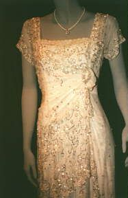 Titanic Costumes: Heaven Dress | The design of the Heaven Dress is very similar to another dress in a different film. Somewhere in Time filmed in 1980, also had a setting of 1912. The film's star, Jane Seymour wears a dress very similar to the Heaven Dress in SIT's theatre speech scene.