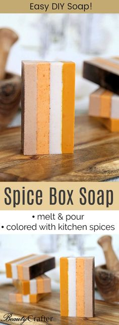 DIY Spice Soap  Melt and Pour soap Striped with Natural colors from kitchen spices. Fall gift idea.