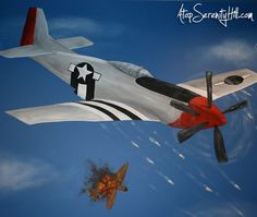 WWII Fighter Plane on fire mural for boys room • AtopSerenityHill.com #mural