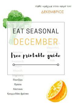 Eat Seasonally: December free printable guide Free Printables, Health Care, December, Eat, Fruit, Food, Free Printable, Essen, Meals