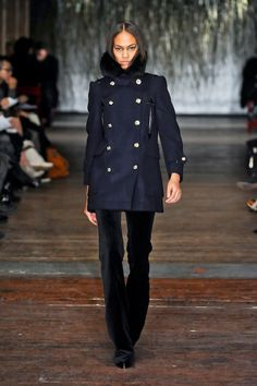 Damn does Joseph Altuzarra knows how to make a great jacket. The outerwear at Altuzarra's fall 2012 show--from expertly tailored cropped sailor pea co Navy Pea Coat, Runway, Navy Blue, My Style, Fall, Jackets, Closet, Products, Fashion