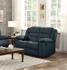 Greenville Blue Grey Fabric Double Reclining Loveseat