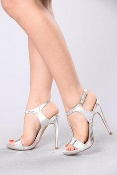 Available in Gold and Silver Metallic Heel Open Back and Open Front Ankle Buckle 5 Inch Heel T Stap Design Open Toe High Heels, High Heel Boots, Silver Metallic Heels, Fashion Nova Shoes, Sexy Sandals, T Strap Heels, Spike Heels, Women's Feet, Beautiful Shoes