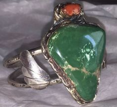 Old Pawn Native INDIAN Silver Cuff Bracelet w/ LARGE Green Stone & Red Coral #Cuff