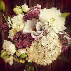 Katie's Bouquet // Dahlias, Hydrangea, Lisianthus, Hypericum Berry, and Seedum.    #Breckenridge #florist #wedding #flowers #bride #bouquet #Colorado #RockyMountains #SummitCounty #sumco