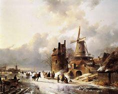 Andreas Schelfhout - Winterlandschap met schaatsers op het ijs.