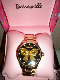 Brand New in ORIGINAL BOX  Betseyville-by-Betsey-Johnson-Large-Face-Bracelet-Watch-w-Gold-Bow-Graphics . Starting at $20