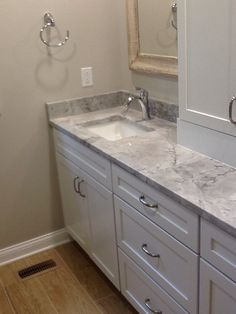 Super white counters, paint is sherwin Williams agreeable gray, merrilat cabinets. Super white counters, paint is sherwin Williams agreeable gray, merrilat cabinets. Grey Bathroom Cabinets, White Bathroom Tiles, Grey Cabinets, Grey Bathrooms, Bathroom Colors, Small Bathroom, Bathroom Ideas, Shiplap Bathroom, Kitchen Cabinets