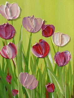 Original pintura abstracta tulipanes acrílico por DanlyesPaintings