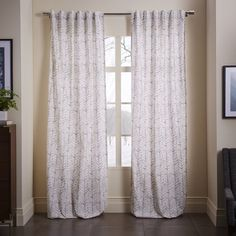 Cotton Canvas Vine Leaves Curtain - Frost Gray