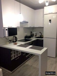 Kitchen Room Design, Kitchen Cabinet Design, Home Decor Kitchen, Kitchen Interior, Home Kitchens, Small Open Plan Kitchens, Open Plan Kitchen Dining Living, Small Modern Kitchens, Small Apartment Interior