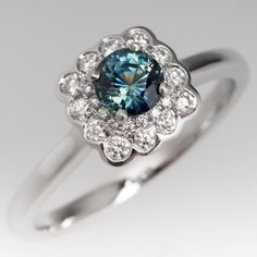 Beautiful Blue Green Sapphire Ring Double Diamond Halo 14K Gold