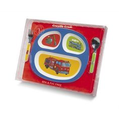 3 Piece Divided Meal Plate Gift Set - Vehicles