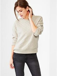 Love this! From jeans to sweats to leggings.... layered with jean shirt, long sleeve tee, tanks....  love it!  Quilted sweatshirt
