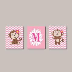 Pink Girl Monkey Set of 3 8x10 Prints Chevron by LovelyFaceDesigns, $32.00