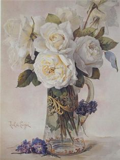 Paul de Longpre WHITE ROSES - I have this at home and it's gorgeous!