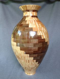 "Tiger Maple and Walnut. 17"" tall. 368 pieces. Lathe Projects, Wood Turning Projects, Woodworking Projects, Wood Projects, Segmented Turning, Bowl Turning, Wooden Vase, Wood Lathe, Wood Bowls"