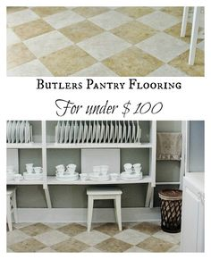 Easy flooring For Under $100  This floor is just peel and stick tile with alternating colors laid on a diagonal.