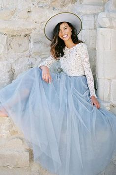 Inspired by the Pantone Color of the Year Serenity and constructed with soft tulle for a ultra feminine vibe. As seen on Green Wedding Shoes. - Fully lined with a hidden back zipper - All length is ap