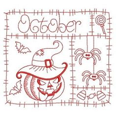 Redwork 12 Months of the Year, October - 3 Sizes! | Fall | Machine Embroidery Designs | SWAKembroidery.com Ace Points Embroidery