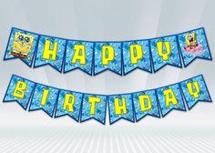 SpongeBob+Birthday+Banner+by+DigiPartyShoppe+on+Etsy,+$4.00