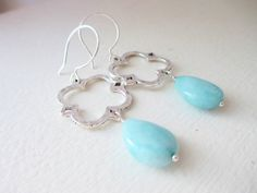 """As Seen on """"The Hart of Dixie"""" Stunning Blue Larimar and Clover Dangle by JulieEllynDesigns"""