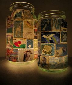 Stamp Lamp - Upcycled Glass Jar Tealight Candle Holder Ooak - Blue