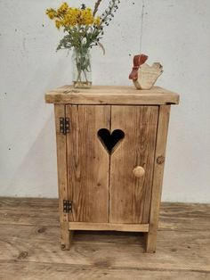 Handmade bedside table nightstand vanity unit washstand rustic reclaimed wood Check out this item in Primitive Furniture, Handmade Furniture, Pallet Furniture, Furniture Projects, Rustic Furniture, Furniture Plans, Wood Projects That Sell, Diy Wood Projects, Handmade Bedside Tables