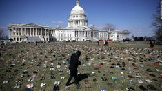 In the shadow of the Capitol dome Tuesday was a sobering display of thousands of pairs of shoes, organized neatly across the grass said to represent children who have died in the US from gunshot wounds since the Newtown elementary school massacre in 2012. 3.13.18.