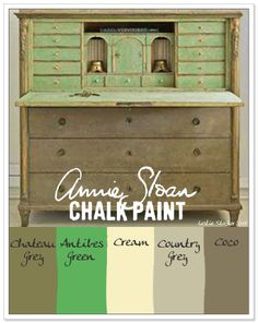 COLORWAYS.  Layer Annie Sloan Chalk Paint to get not only the neutral green exterior, and a surprise minty green inside