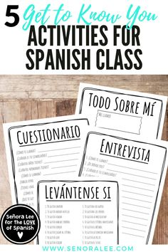 Five Get-to-Know-You Activities for Spanish Class - Back to School Spanish