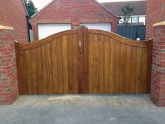 Iroko Wood Timber Gate installed in East Yorkshire Timber Gates, East Yorkshire, Wood, Outdoor Decor, Garden, Wooden Gates, Garten, Wood Gates, Woodwind Instrument