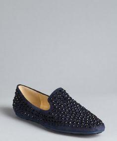 Jimmy Choo: navy and black suede crystal embellished slip-on loafers