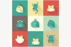 Vector frog icons by vectorprro on @creativemarket