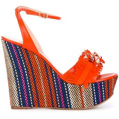 Casadei fringe strap wedge sandals ($597) ❤ liked on Polyvore featuring shoes, sandals, orange, strappy sandals, fringe wedge sandals, wedge sandals, wedge heel sandals and orange strappy sandals