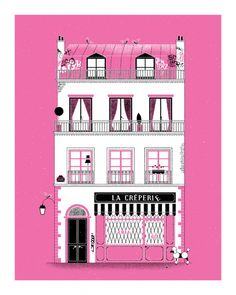 Dominic Clifford screen print of a paris_la_creperie with a little french poodle.